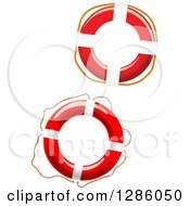 Clipart Of Red And White Life Buoys Royalty Free Vector Illustration