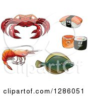 Clipart Of A Crab Sushi Shrimp And Flounder Fish Royalty Free Vector Illustration by Vector Tradition SM