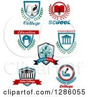 Clipart Of College And University Shields Royalty Free Vector Illustration by Vector Tradition SM