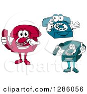 Clipart Of Red Blue And Teal Desktop Telephone Characters Royalty Free Vector Illustration