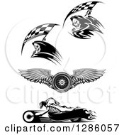 Clipart Of Black And White Racing Grim Reapers A Winged Tire And Skeleton Biker Royalty Free Vector Illustration by Vector Tradition SM