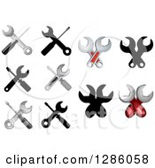 Clipart Of Settings Utility Or Repair Wrench And Screwdriver Designs Royalty Free Vector Illustration