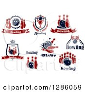Poster, Art Print Of Red And Navy Blue Bowling Alley Designs