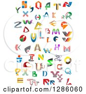Clipart Of Colorful Abstract Alphabet Letters Royalty Free Vector Illustration