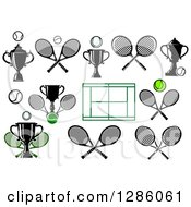 Clipart Of Tennis Trophies Balls Courts And Rackets Royalty Free Vector Illustration