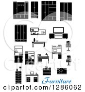 Clipart Of Black And White Household Furniture With Blue Text Royalty Free Vector Illustration by Vector Tradition SM