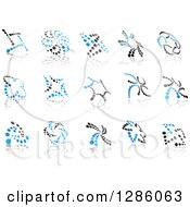 Clipart Of Blue And Gray Abstract Dot Windmills And Reflections Royalty Free Vector Illustration by Vector Tradition SM