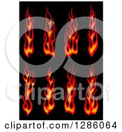 Clipart Of Red Flames Over Black Royalty Free Vector Illustration