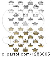 Clipart Of Black And White And Gold Crowns 2 Royalty Free Vector Illustration