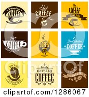 Clipart Of Fresh And Hot Coffee Text Designs Royalty Free Vector Illustration