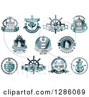 Clipart Of Teal Nautical Maritime Designs Royalty Free Vector Illustration by Vector Tradition SM