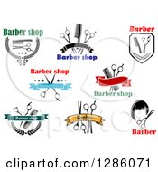 Clipart Of Barber Shop Designs With Combs Scissors And Hair Royalty Free Vector Illustration by Vector Tradition SM