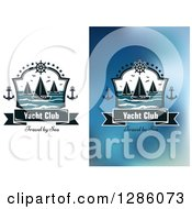 Clipart Of Nautical Yacht Club Shields With Sample Text And Boats Royalty Free Vector Illustration