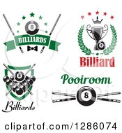 Clipart Of Billiards Eight Balls Trophy Shields And Cue Sticks Royalty Free Vector Illustration