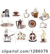 Clipart Of Multi Toned Brown Coffee Cups And Espresso Designs Royalty Free Vector Illustration