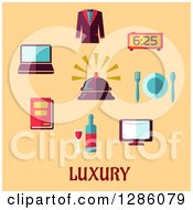 Clipart Of Luxury Items And Text On Pastel Orange Royalty Free Vector Illustration
