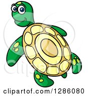 Clipart Of A Cartoon Sea Turtle Looking Back Royalty Free Vector Illustration by Vector Tradition SM