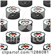 Clipart Of A Seamless Pattern Background Of Smiling Sushi Rolls Royalty Free Vector Illustration