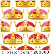 Clipart Of A Seamless Pattern Background Of Gold And Ruby Crowns On White Royalty Free Vector Illustration