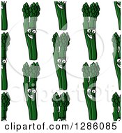 Seamless Pattern Background Of Happy Asparagus Stalks