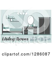 Clipart Of A Bluish Gren Toned Bedroom Interior With Sample Text Royalty Free Vector Illustration