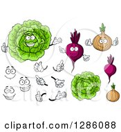 Clipart Of Cabbage Beets And Onions With Hands And Faces Royalty Free Vector Illustration