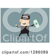 Clipart Of A White Male Robber Holding Up Cash On A Blue Background Royalty Free Vector Illustration