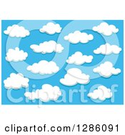 Clipart Of A Blue Sky And Puffy White Clouds 5 Royalty Free Vector Illustration