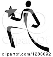Clipart Of A Black And White Ribbon Person Running With A Star Royalty Free Vector Illustration