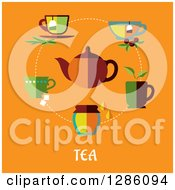 Clipart Of A Tea Pot With Cups And Text On Orange Royalty Free Vector Illustration