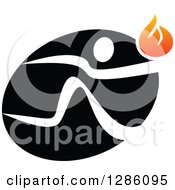 Clipart Of A White Person Running With A Torch Over A Black Oval Royalty Free Vector Illustration