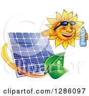 Clipart Of A Happy Sun Holding A Water Bottle Over A Solar Panel And Leaves Royalty Free Vector Illustration