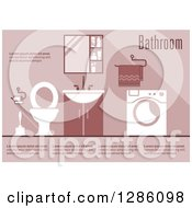 Clipart Of A Pink Toned Bathroom Interior With Sample Text Royalty Free Vector Illustration