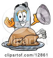 Clipart Picture Of A Wireless Cellular Telephone Mascot Cartoon Character Serving A Thanksgiving Turkey On A Platter