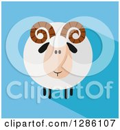 Clipart Of A Modern Flat Design Round Fluffy White Ram Sheep With Shadows On Blue Royalty Free Vector Illustration by Hit Toon