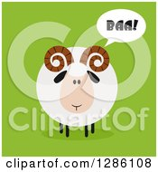 Clipart Of A Modern Flat Design Round Fluffy White Ram Sheep Baaing On Green Royalty Free Vector Illustration by Hit Toon