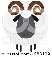 Clipart Of A Modern Flat Design Round Fluffy Black Ram Sheep Royalty Free Vector Illustration by Hit Toon