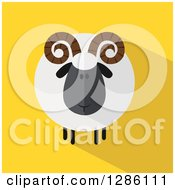 Clipart Of A Modern Flat Design Round Fluffy Black Ram Sheep With Shadows On Yellow Royalty Free Vector Illustration by Hit Toon