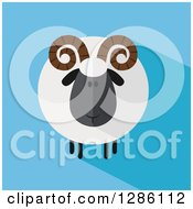 Clipart Of A Modern Flat Design Round Fluffy Black Ram Sheep With Shadows On Blue Royalty Free Vector Illustration