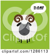 Clipart Of A Modern Flat Design Round Fluffy Black Ram Sheep Baaing On Green Royalty Free Vector Illustration