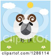 Clipart Of A Modern Flat Design Round Fluffy Black Ram Sheep On A Hill Royalty Free Vector Illustration by Hit Toon