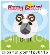 Clipart Of A Modern Flat Design Round Fluffy Black Ram Sheep On A Hill With Happy Easter Text Royalty Free Vector Illustration by Hit Toon
