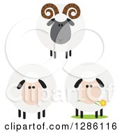 Clipart Of Modern Flat Designs Of Round Fluffy White And Black Ram And Sheep Royalty Free Vector Illustration