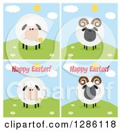 Clipart Of Modern Flat Designs Of Round Fluffy White And Black Sheep And Rams On Hills Some With Happy Easter Text Royalty Free Vector Illustration