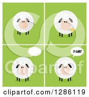 Modern Flat Designs Of Round Fluffy White Sheep Over Green Tiles