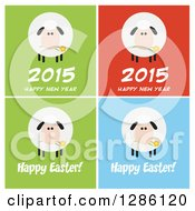Clipart Of Modern Flat Designs Of Fluffy White Sheep On Colorful Tiles With New Year And Happy Easter Greetings Royalty Free Vector Illustration