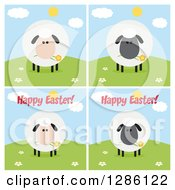 Clipart Of Modern Flat Designs Of Round Fluffy White And Black Sheep On Hills Some With Happy Easter Text Royalty Free Vector Illustration