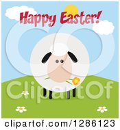 Clipart Of A Modern Flat Design Round Fluffy Sheep Eating A Flower On A Hill Under Happy Easter Text Royalty Free Vector Illustration