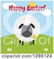 Clipart Of A Modern Flat Design Round Fluffy Black Sheep Eating A Flower On A Hill Under Happy Easter Text Royalty Free Vector Illustration