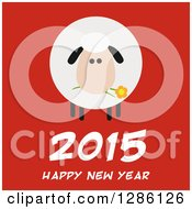 Clipart Of A Modern Flat Design Round Fluffy Sheep Eating A Flower Over 2015 Happy New Year Text On Red Royalty Free Vector Illustration